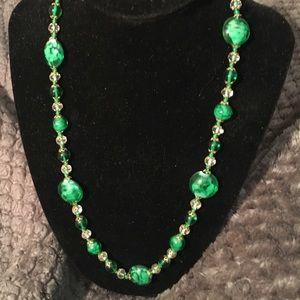 Green Murano Italian glass necklace